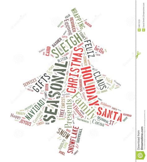christmas tree decorated whith words word cloud showing words dealing with the season royalty free stock images image