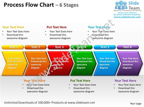 Process Flow Chart 6 Stages Powerpoint Templates 0712 Ppt Flowchart Template