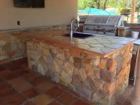 Tile Kitchen Island Countertop Outdoor Kitchen Island Traditional Patio By Rustico