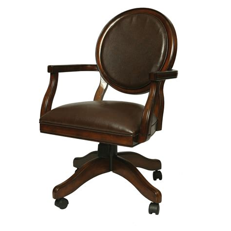 dining room chairs with wheels and arms brown wooden armchair and caster plus brown leather seat