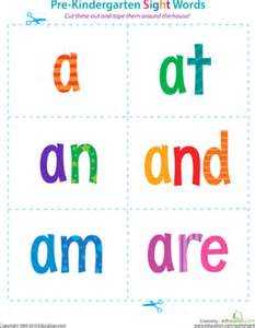 pre kindergarten sight words a to are worksheet