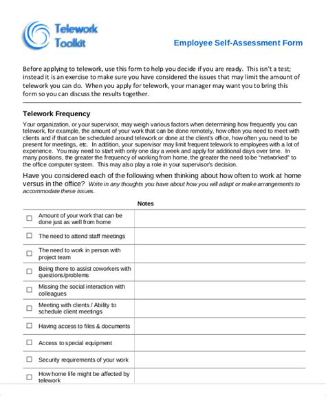 Letter Of Appraisal Mun Self Assessment Employee Performance Self Assessment Form3 Self Assessment Sle Forms