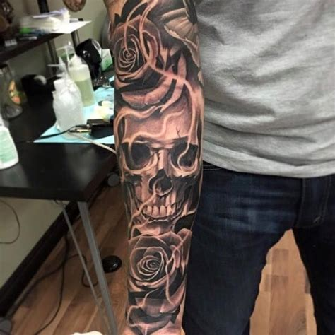 ricardo avila tattoo sleeve skull by ricardo avila ideas