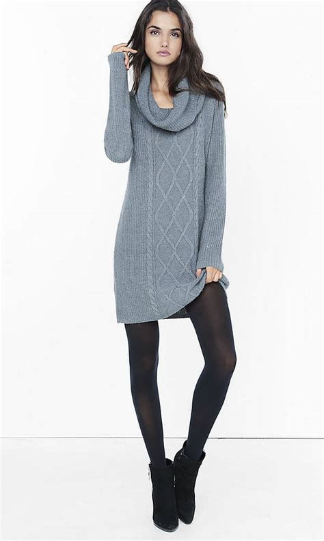 Sweater Dress - gray cowl neck cable knit sweater dress