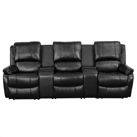 reclining theater seating 3 seat leather reclining home theater seating in black