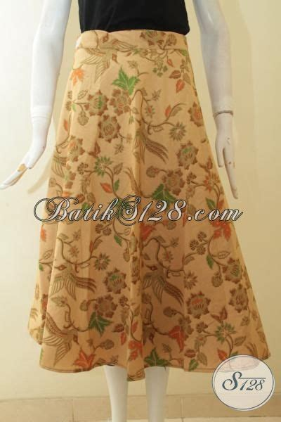 Rok Panjang Anak Perempuan Motif Bintang rok batik modern warna coklat muda busana batik bawahan