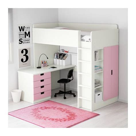 white loft bed with desk and drawers stuva loft bed with 4 drawers 2 doors white pink doors