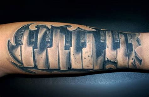 arm 3d piano tattoo by vaso vasiko tattoo