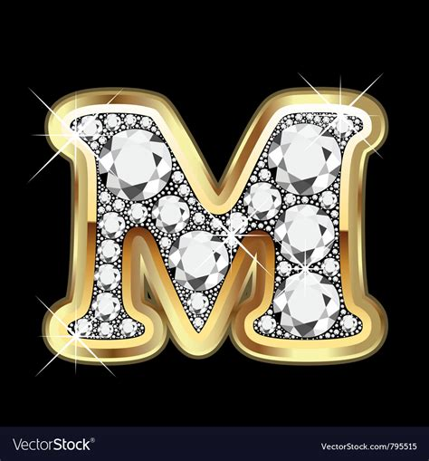 Letter m gold and diamond Royalty Free Vector Image M Letter In Diamond