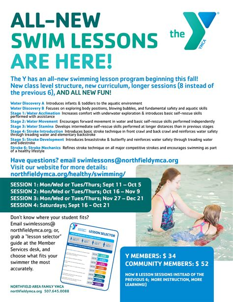 All New Swimming Lessons Are Here Northfield Area Family Ymca Swim Lesson Flyer Template Free