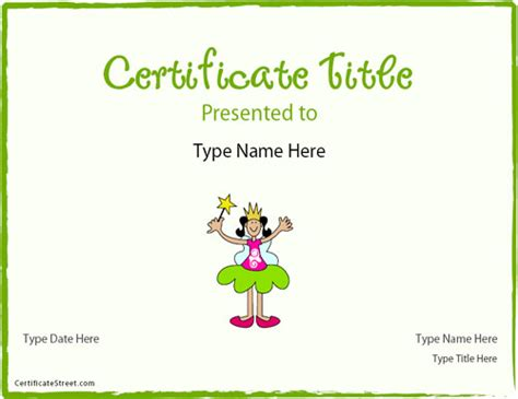 Princess Certificate Template by Blank Certificates Princess Certificate