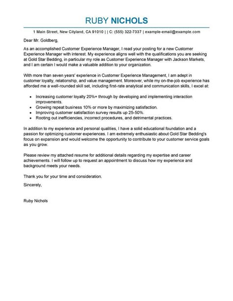 best customer experience manager cover letter exles