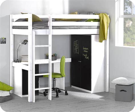 set bureau enfant set lit enfant mezzanine cargo blanc 90x190 cm