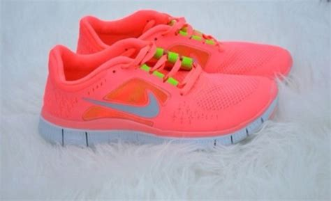 shoes neon pink yellow nike free run running trainers