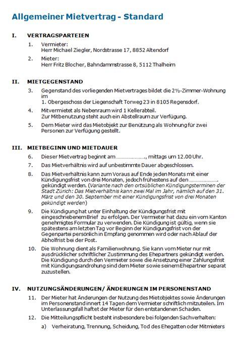 Muster Vertrag Schweiz Muster Mietvertrag Wohnung Schweiz Vorlage Zum
