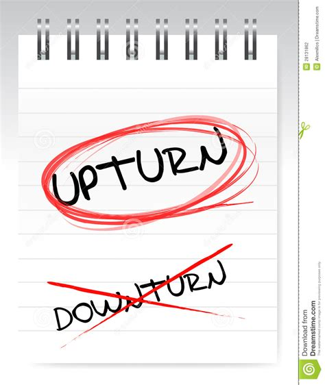 how to to and outside upturn crossed out the word downturn stock photography image 28131862