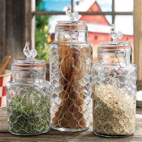 blown glass canisters collection rooster kitchen set of 3 glass rooster canister assorted size jars with