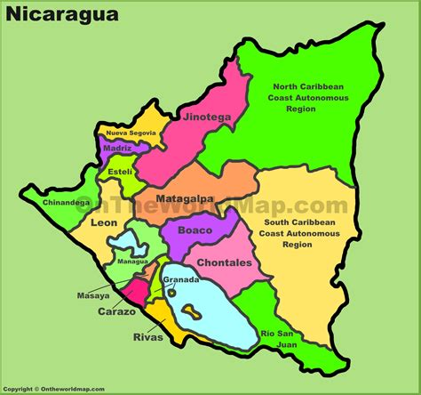 political map of nicaragua administrative divisions map of nicaragua