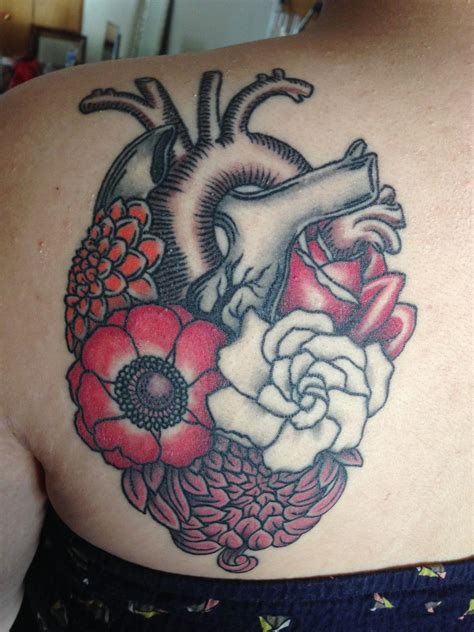 ftw tattoo anatomical with flowers by carolyn