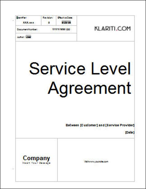 Service Level Agreement (SLA) Template   Instant Download