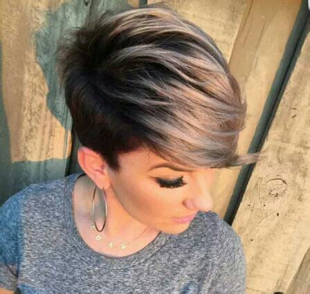 pixie cuts cherry brown and blonde dark shadow root and blonde tip pixie cut beautiful