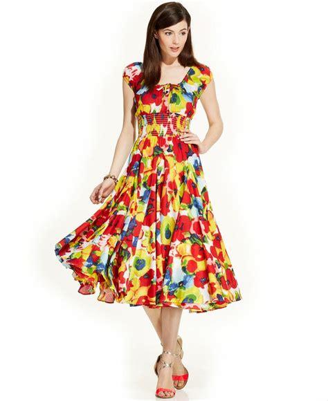 F8 Dress Grace Grace Elements Cap Sleeve Printed Peasant Dress Dresses