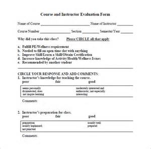 Course Assessment Template by Sle Instructor Evaluation Form Documents In Pdf Word