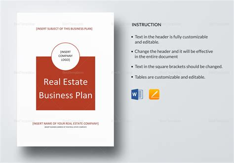 real estate templates for apple pages real estate business plan template in word google docs