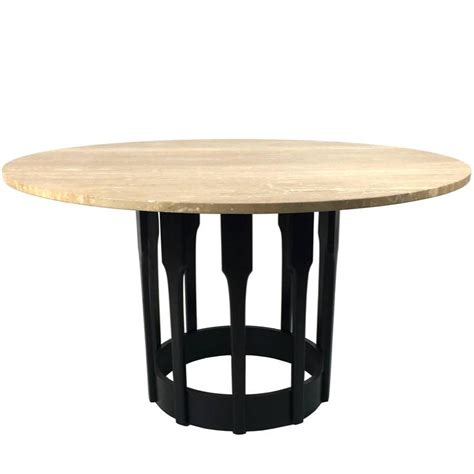 Ebonized Walnut Dining Table With Travertine Top For Sale Travertine Top Dining Table