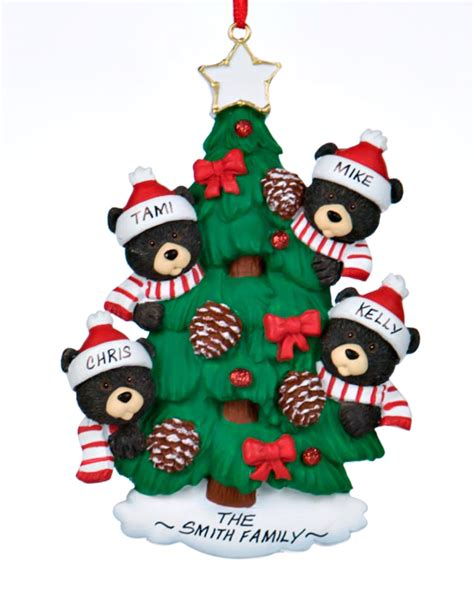 Halloween Decorations Made At Home black bear tree family 4 personalized ornament