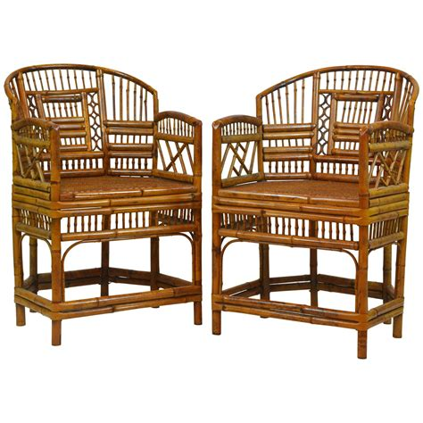 pair of chinese bamboo chairs at 1stdibs pair of vintage brighton pavillion style chinoiserie