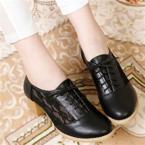 Mm Sweet Lace lilystyle sweet mesh lace up black white mid block heel