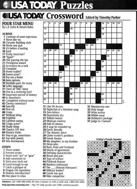 Usa Today Crossword September 21 2015 | usa today crossword