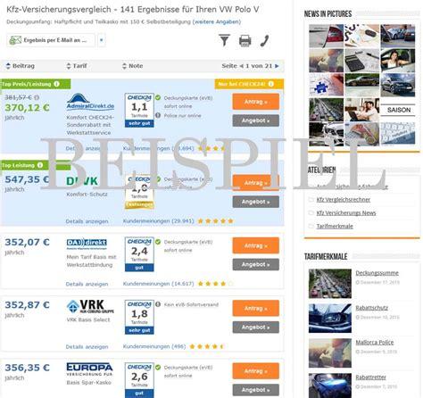 Günstige Kfz Versicherung Ohne Vorversicherung by Vw Polo Versicherung Jetzt Kostenlos Vergleichen