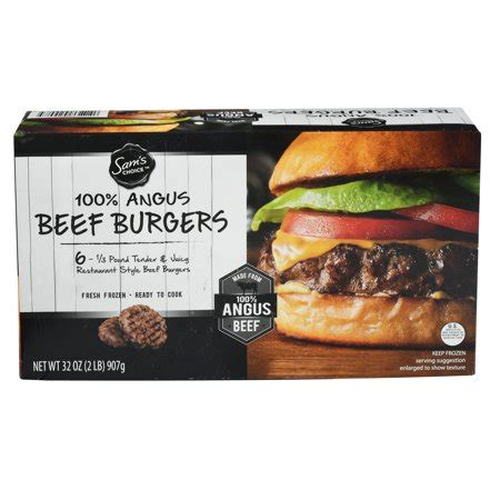 sam's choice beef burgers, 100% black angus, 32 oz, 6