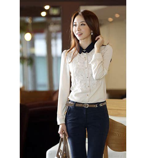 Switer Wanita Murah Trend Putih Salju kemeja hitam wanita brokat model terbaru jual murah import kerja