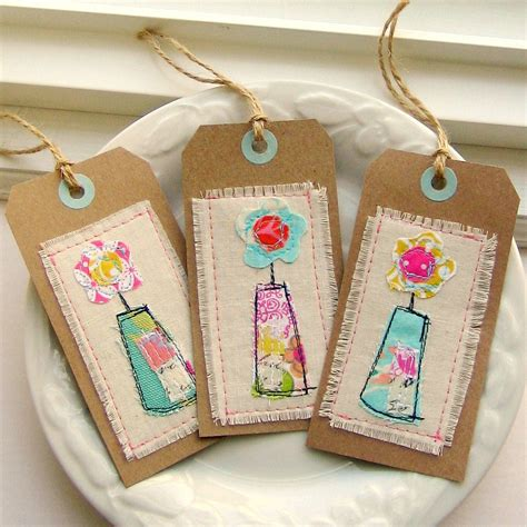 Fabric Tags For Handmade Gifts - tag gift tag sewn gift tag fabric tag flower tag flower
