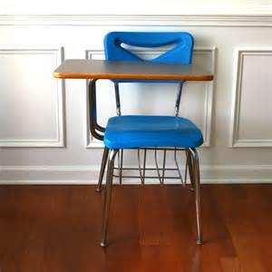 vintage modern school desk storage chair metal plastic blue