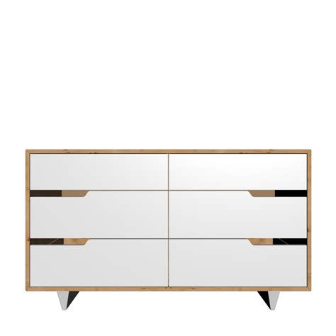 Mandal Dresser by Mandal 6 Drawer Dresser Birch White Design And