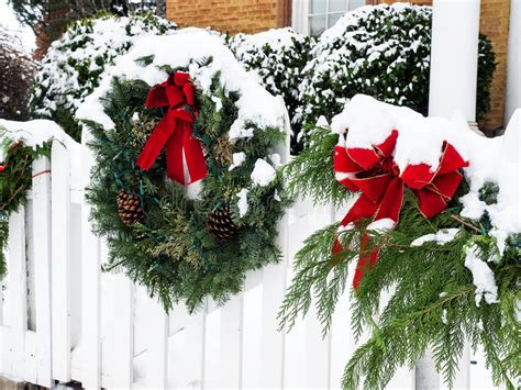 images of christmas garland on a fences wreath in snow stock image image of wreath 36128679
