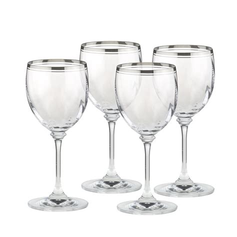 mikasa crystal barware mikasa stephanie platinum crystal wine glasses set of 4