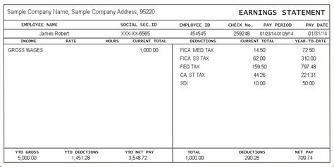 5 Pay Stub Exle Teknoswitch Intuit Pay Stub Template