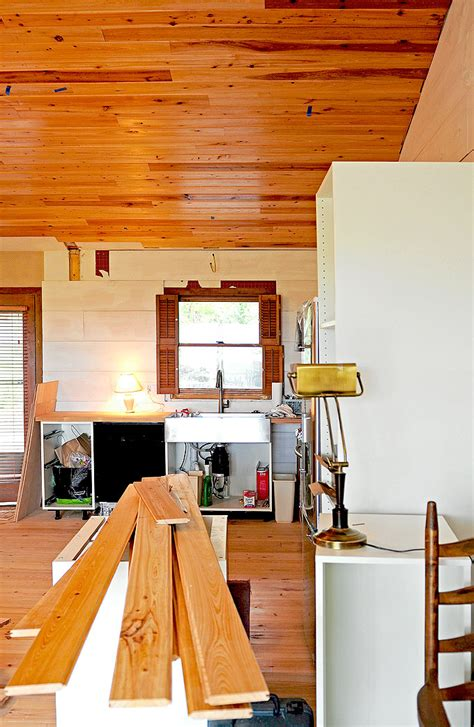 How to Cover a Popcorn Ceiling with Cypress Wood   She
