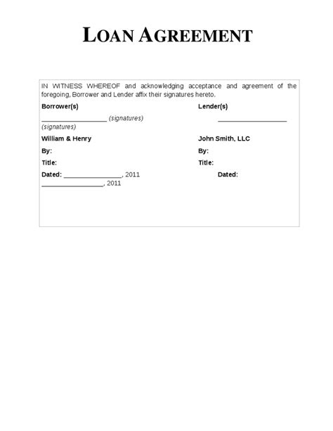 personal loan agreement letter template for loan between