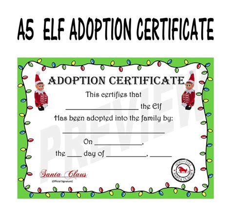 printable elf on the shelf certificate christmas elf adoption certificate ebay