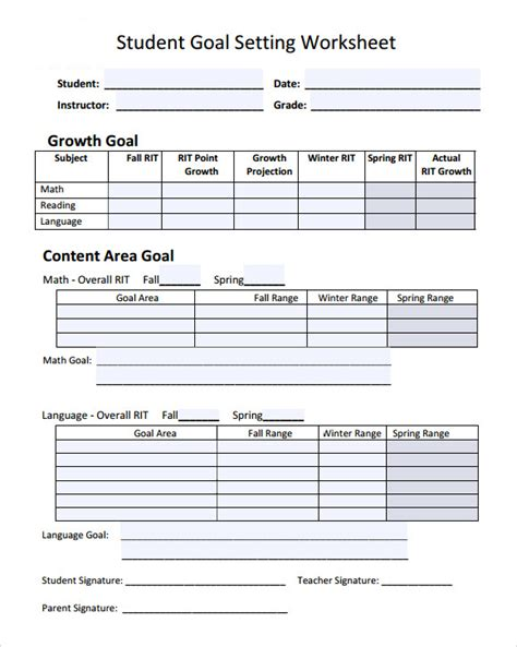 templates for goal setting goal setting template 12 free documents in pdf