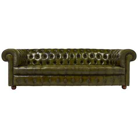 Vintage Green Leather Chesterfield Sofa For Sale At 1stdibs Green Chesterfield Sofa For Sale