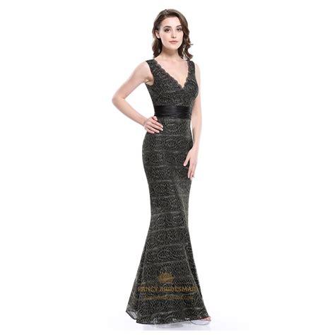 Sleeveless Mermaid Lace Dress black lace overlay mermaid v neck sleeveless prom dress