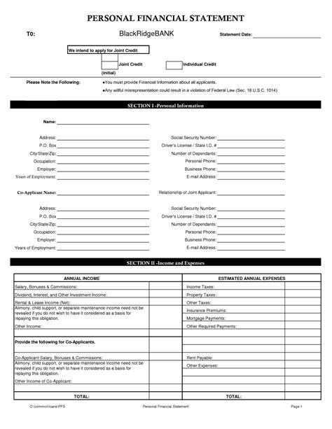 personal financial statement template excel personal financial statement template excel best