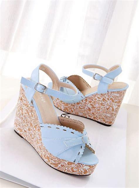 Wedges Transparan Fashion Korea 1 newest korean fashion sweet popular color block one buckle wedge platform peep toe sandals